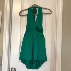 Backless silk emerald romper